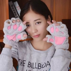 Gray Pink Fingerless Kitty/Bear Paw Gloves